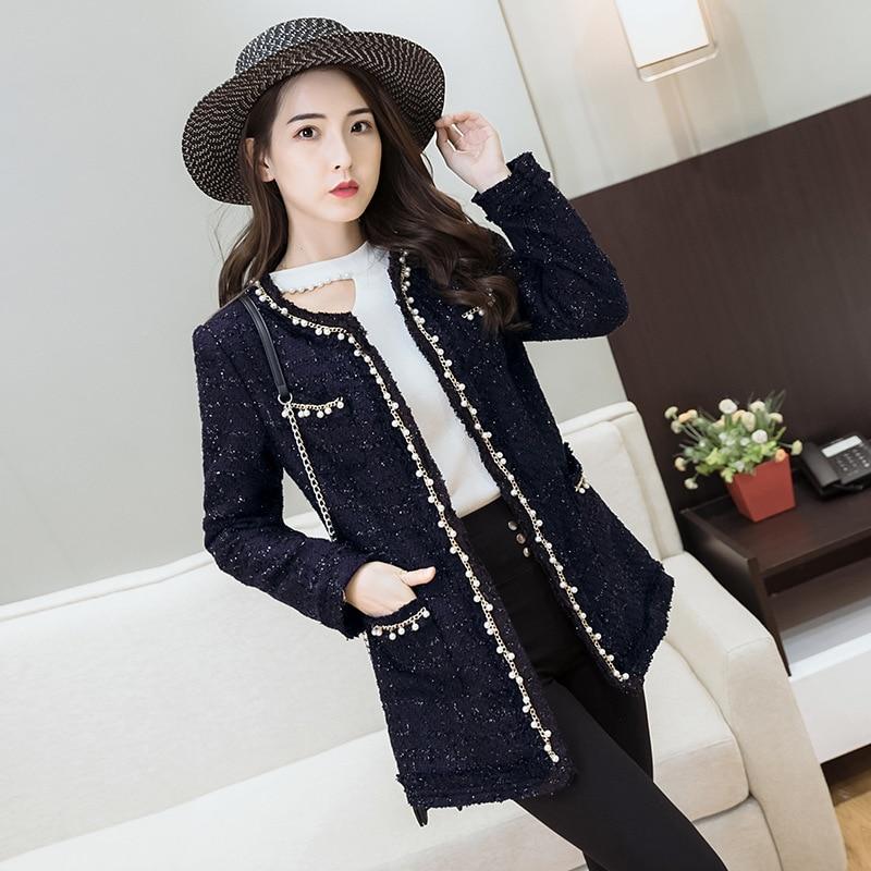LXUNYI Autumn Winter Women Coat Korean Ladies Fashion Beading O ...