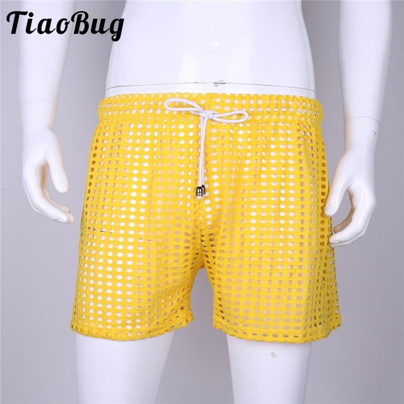 Men Sexy Grid Fishnet Transparent Shorts Fashion 2018 Loose Lounge Pants Sleep Bottoms See Through Pajama Pants