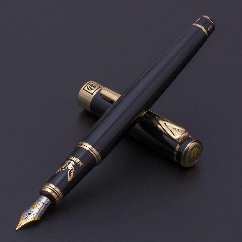 Hero H78 fountain pen high-end gift carving eagle business black calligraphy ink pen 0.5mm /1.0mm and Original box authentic hero 9316 fountain pen ink pen iraurita nib 0 5mm calligraphy pen student stationery office business gift box set
