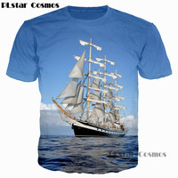 PLstar Cosmos 2017 Men Creative 3D T Shirt Waves Of the Sea Water Boat Head The Bottle Anchor Printed T-Shirt Casual Tee Tops