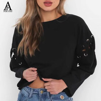 2017 Autumn Winter Lace Up Sleeve Hoodies Sweatshirt Casual Knitting Hoodie For Women Pullovers Crop Top