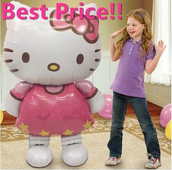 116*65cm Large Size Hello Kitty Cat Foil Balloons toy Cartoon Inflatable Air Ballons toys стоимость