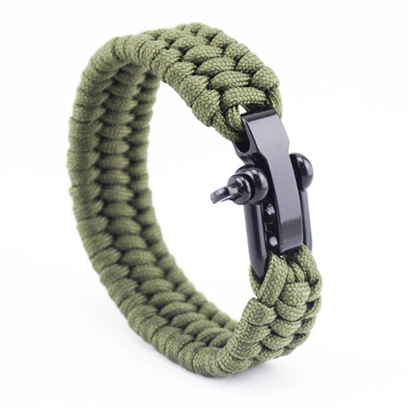 Outdoor Camping Paracord Bracelet Survival Emergency Braided Rope Men Black Stainless Steel Adjule Buckle Pulseras In Charm Bracelets From
