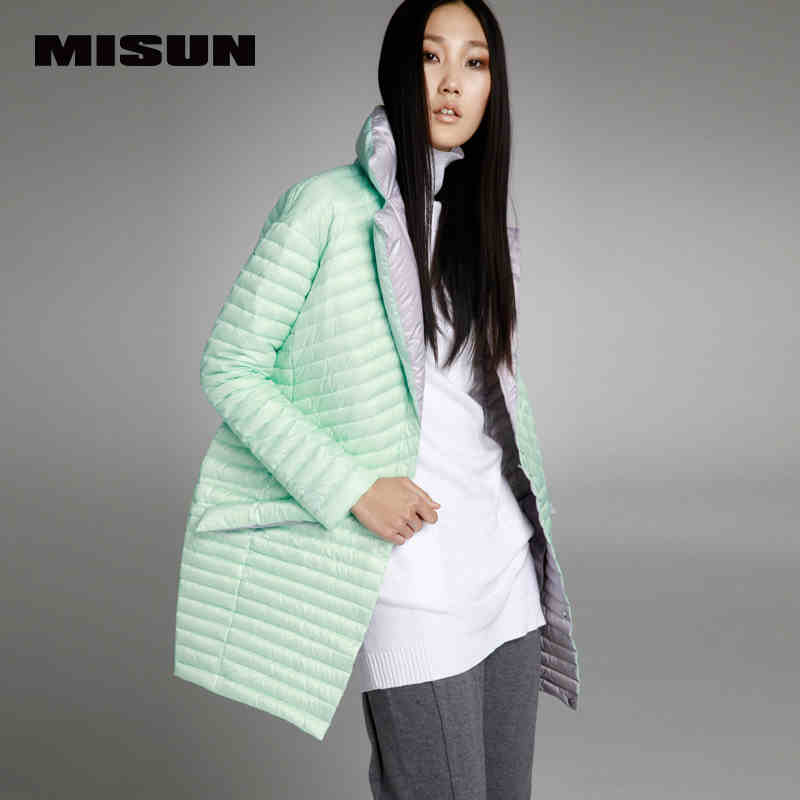 MISUN2017 spring thin down coat medium long down female patchwork color block thermal new arrival font