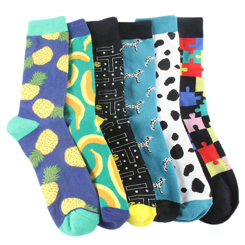 New Fashion Combed Cotton Jacquard Mens Socks Cartoon Animal Dinosaur Cactus Penguin Male Business Dress Crew Socks Wedding Gift Sox Underwear & Sleepwears