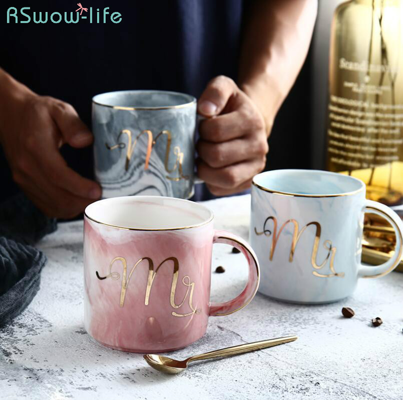 European Marbled Mugs Creative Phnom Penh Ceramic Cups Couples to Gifts