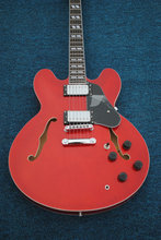 Čína kytara firehawk OEM Vysoce kvalitní Custom Sunburst Semi Duté TR335 Jazz kytara, RED kytara Ems doprava zdarma
