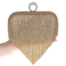 hot deal buy free shipping 2015 new diamond ring evening bags in europe and america fringed holding high-grade diamond evening bag bride bag