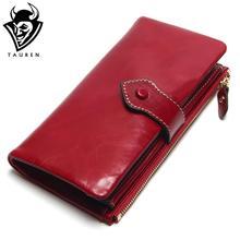 Vintage Leder Frauen Brieftasche Europäischen Und Amerikanischen Stil Aus Echtem Leder Brieftasche Marke Lange Dame Geldbörse Rindsleder Leder Weiblichen Brieftaschen