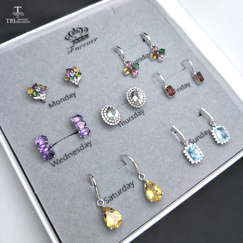 TBJ,2019 Natural Gemstone 925 silver Jewelry earring Spree monday to sunday subject  Women wife  valentines day big gift bagTBJ,2019 Natural Gemstone 925 silver Jewelry earring Spree monday to sunday subject  Women wife  valentines day big gift bag