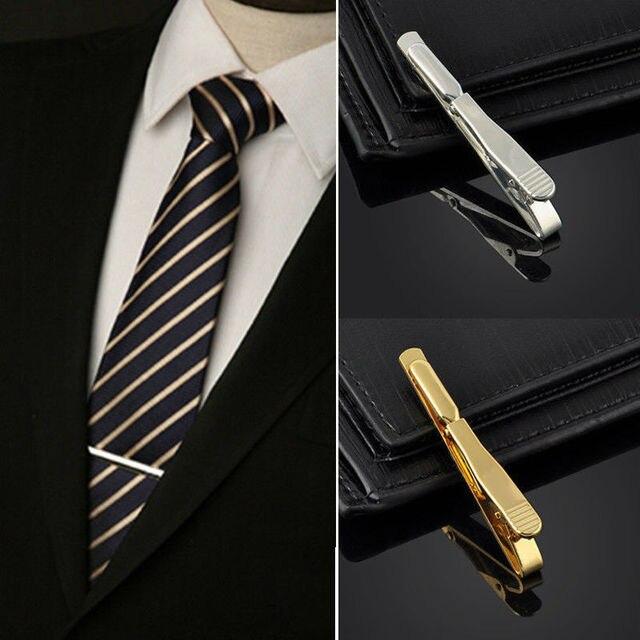 22006e763ba9 Chic Golden Mens Stainless Steel Necktie Clip Bar 5.4cm Men Boys Clasp Clip  Pin Men's Clothing Accessories Hot Wholesale Free