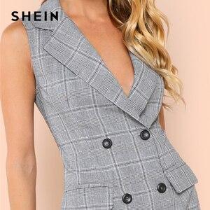 Image 5 - SHEIN negro y blanco elegante Collar de muesca doble pecho Surplice Wrap vestido 2018 verano Delgado moderno señora mujeres vestidos