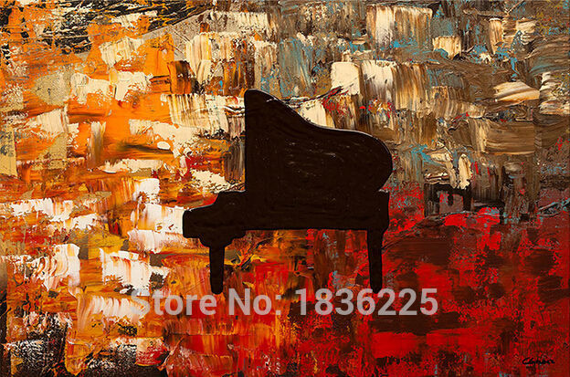 Hand Painted Wall Art Abstract Piano Oil Painting For Hall Decoration