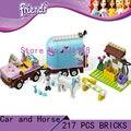 DIY Juguetes para los niños de la muchacha de CHINA marca Emma Caballo Remolque Bloques ladrillos autoblocantes Compatible con Lego friends 3186