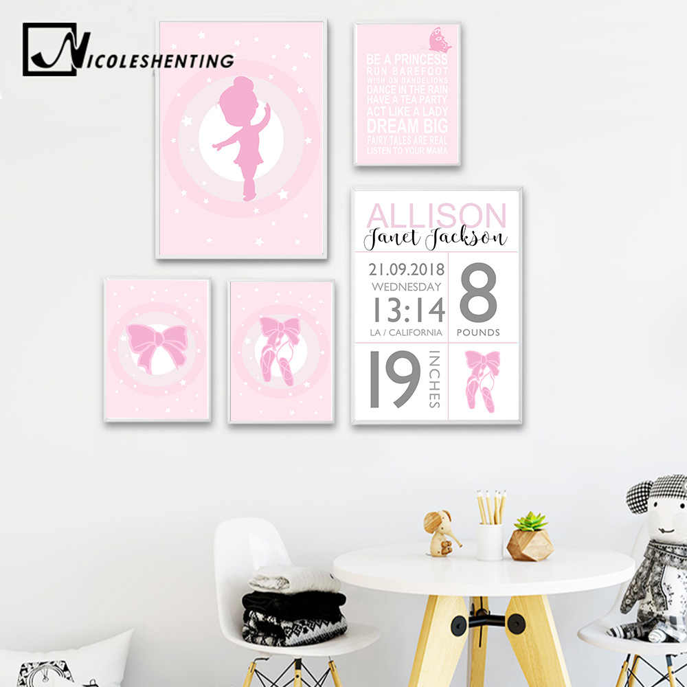 NICOLESHENTING Baby Birth Stats Custom Poster Cartoon Pink Nursery Canvas Art Print Painting Wall Picture Girls Room Decoration