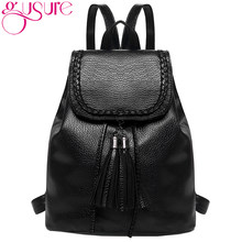 GUSURE Fashion Tassel Women Backpack PU Leather Teenagers Girls Backpack  Vintage School Bags Student Book Bags de27d40d1e1