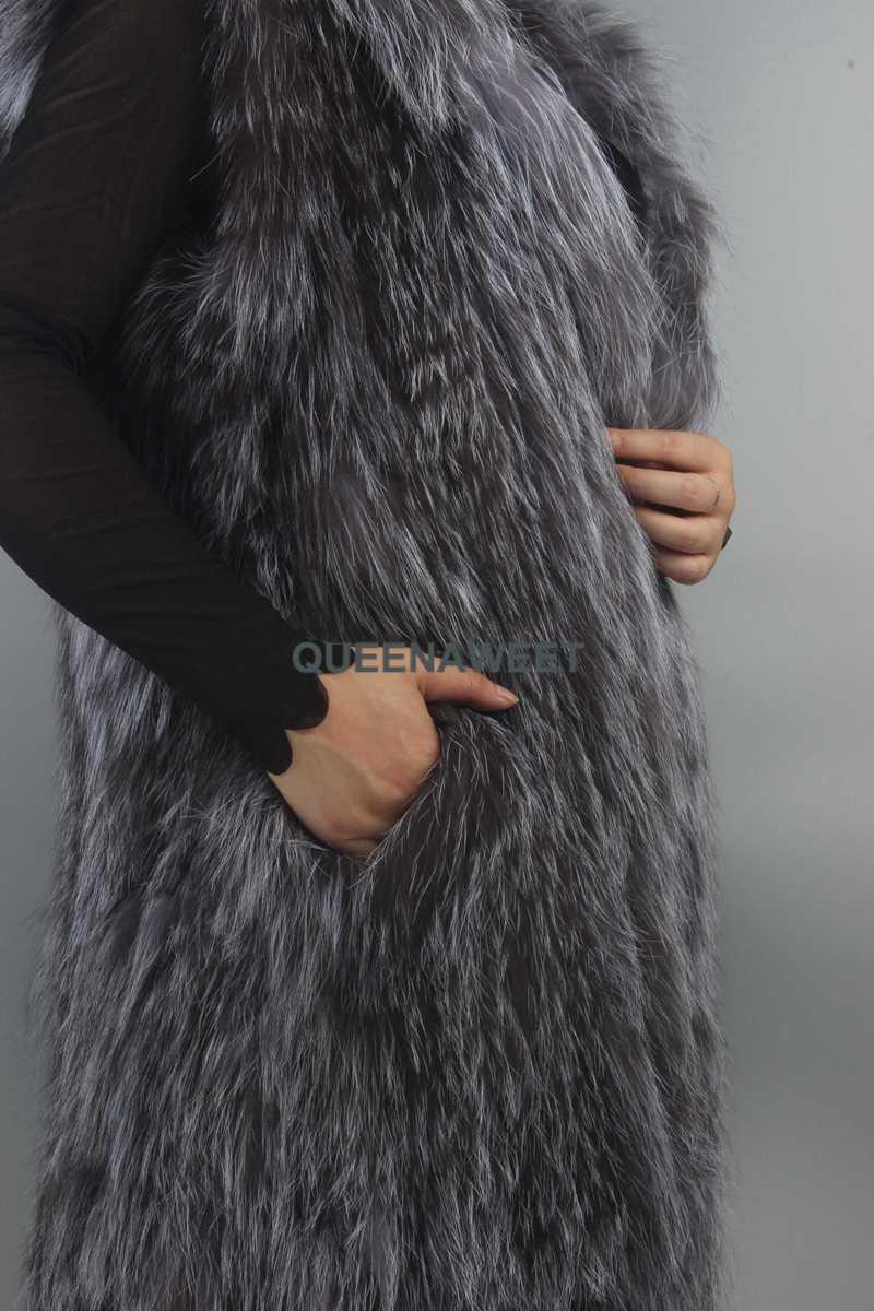 Uzun gümüş tilki kürk yelek kürk Hood gerçek örgü kürk kolsuz palto kadın giyim kış sıcak