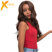 Body Wave Lace Front Synthetic Hair Wigs With Baby Hair X-TRESS Medium Brown Pla