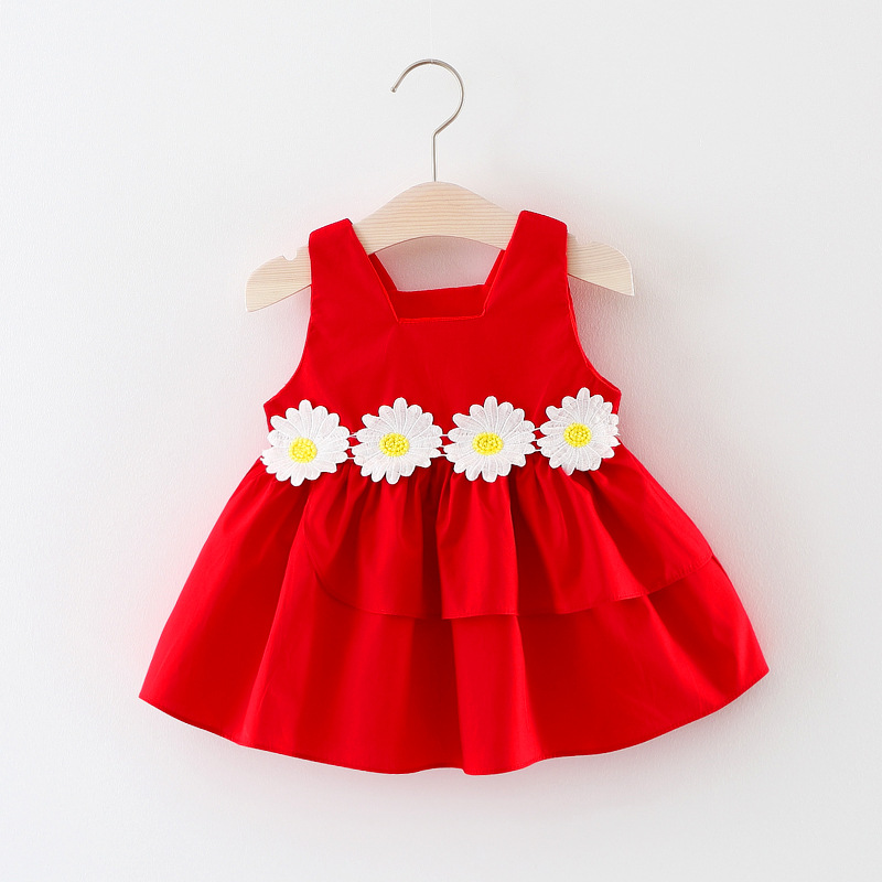 Baby Girl Dress 2018 New Cute Summer Baby Clothes Sleeveless Red Flower Kids Dress Baby Girl Clothing