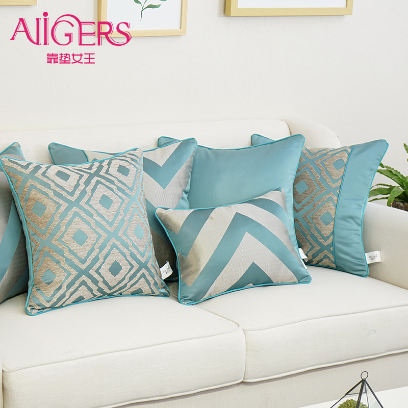 Avigers Luxury Blue Silky Cotton Cushion Cover Jacquard Geometry Pillowcase Modern Style Home Decorative Sofa Chair Throw Pillow