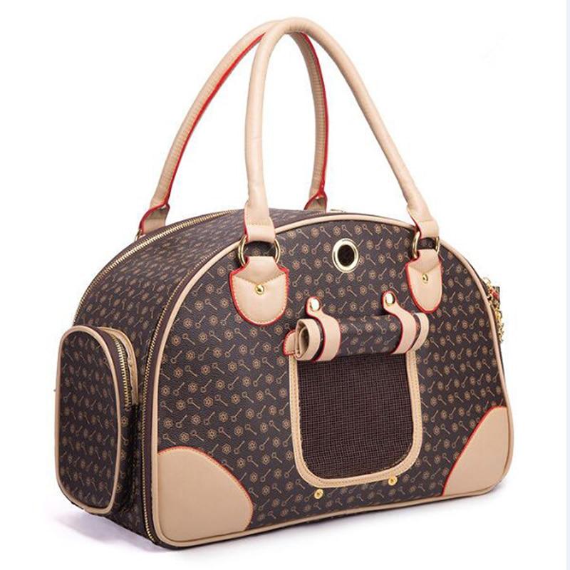Új tervező luxus PU bőr kutya hordtáska Pet Tote minőségi kis kutya / macska hordozó táska kültéri hordozható kutya hordozó táska