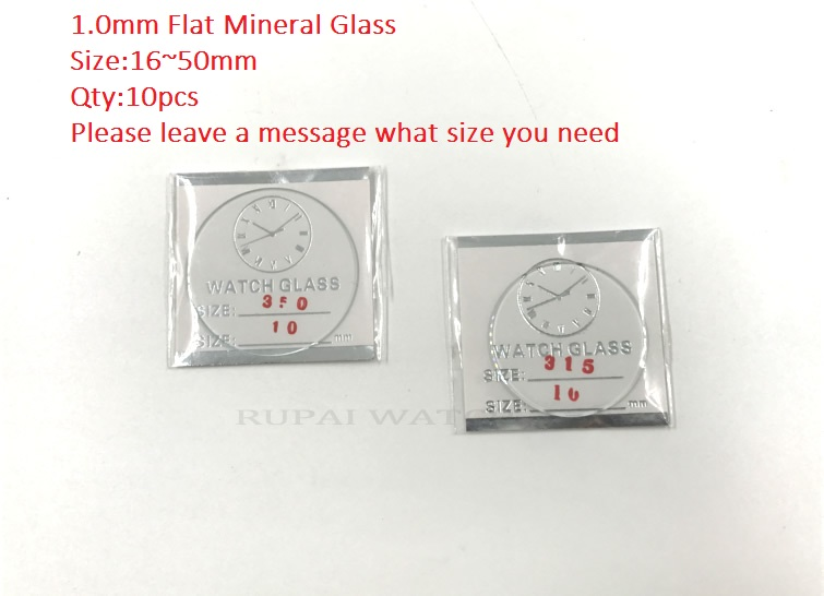 Free Shipping 10pc Flat Mineral Watch Glass/Crystal 1.0mm Thick 16~50mm Size
