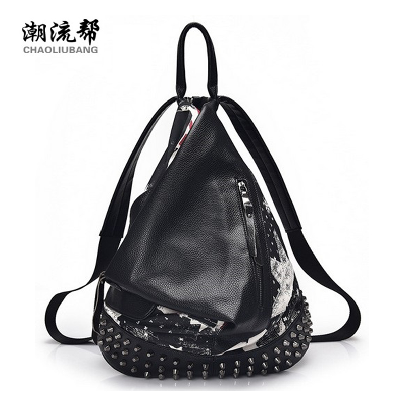 Backpack Women 2017 New Punk Style Rivet Fashion Lady Pu Soft Leather High School Student Small Casual Travel Backpack Yd40-2