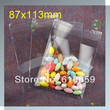 whole sale clear opp bag (87x113mm) A7 size opp bag with self adhesive strip small gift bags(China (Mainland))