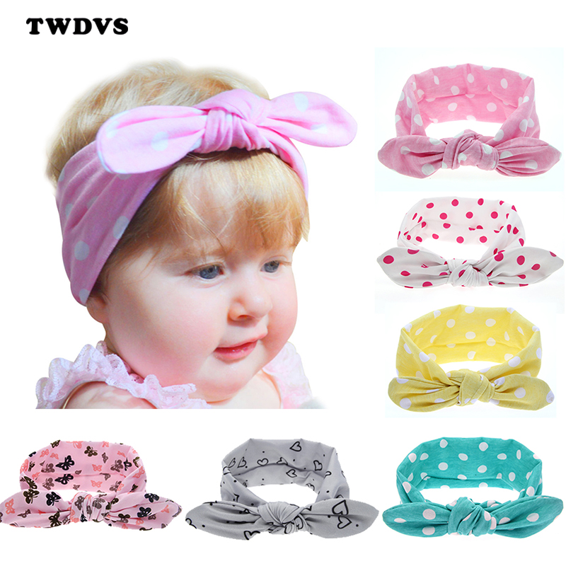 1 pieces 2015 Newborn Baby Girls Waves Bow Knot Elasticity Headband Cotton Children Girls Baby Hair Accessories T11