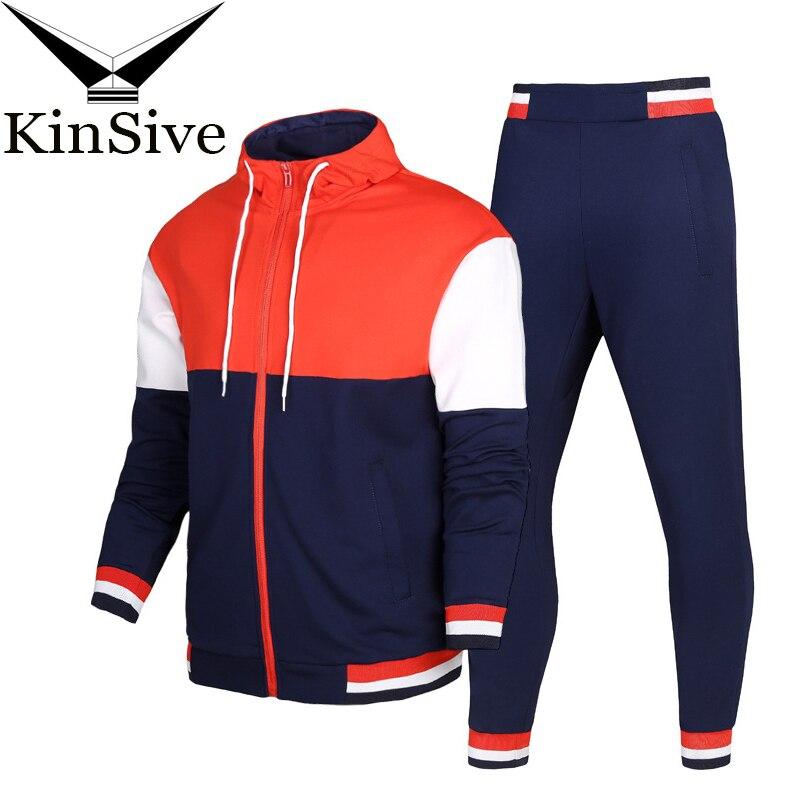 Marque nouveaux hommes ensemble mode automne printemps sport costume Sweat + pantalons de survêtement hommes vêtements deux pièces Sweat ensembles Slim survêtement