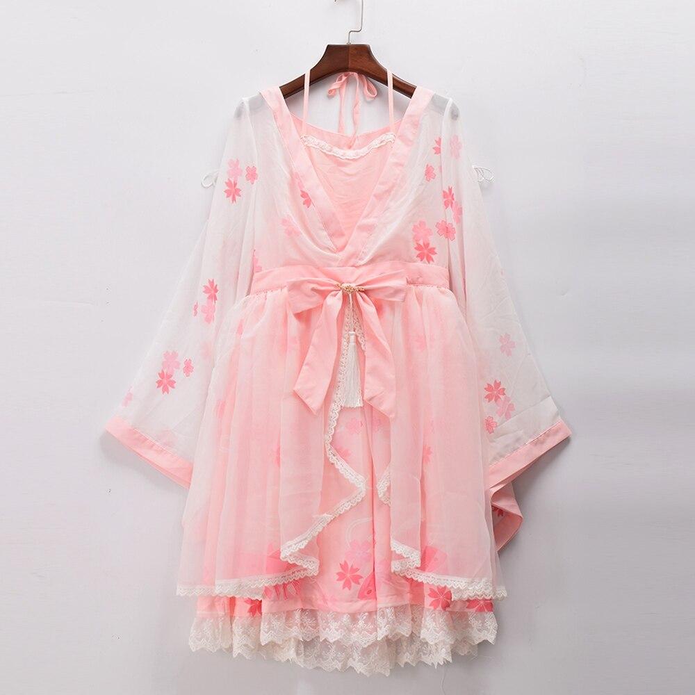 Süße Lolita Kimono Kleid Fantasie Frauen Japanischen Stil Hülse Einteiliges Halter Neck Rosa Kleider-in Kleider aus Damenbekleidung bei AliExpress - 11.11_Doppel-11Tag der Singles 1