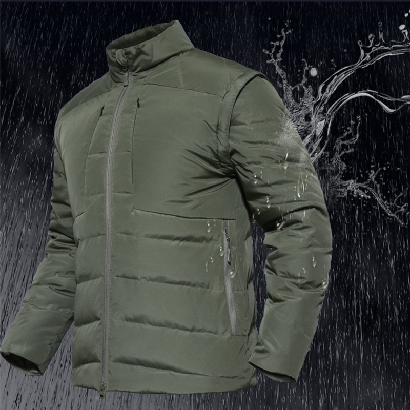 Men Waterproof Warm Thick Sleeve Removable Down Jacket Waistcoat Male Outdoor Hiking Camping Detachable Tactical Tops Coat VestMen Waterproof Warm Thick Sleeve Removable Down Jacket Waistcoat Male Outdoor Hiking Camping Detachable Tactical Tops Coat Vest