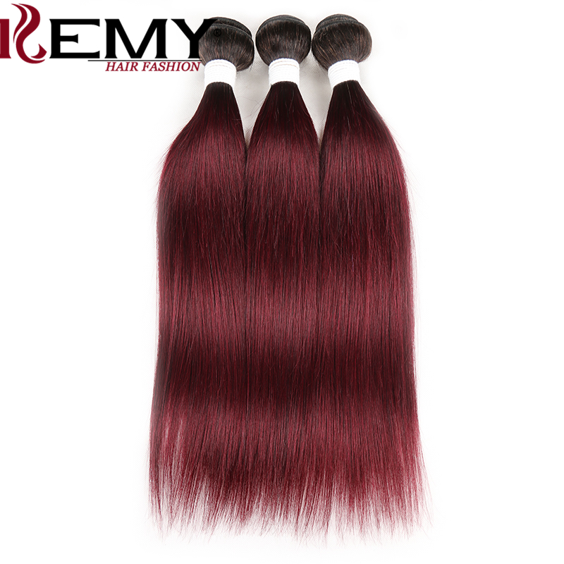 1B 99J/Burgundy Human Hair Bundles  KEMY HAIR 8-26 Inch Brazilian Straight Ombre Hair Weave Bundles 3 PCS Non-Remy Hair Bundles