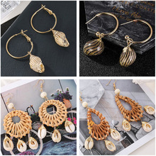 2019 New Sea Shell Conch Dangle Earrings For Women Geometric Braiding Knitted Summer Beach Ladies Fashion Jewelry