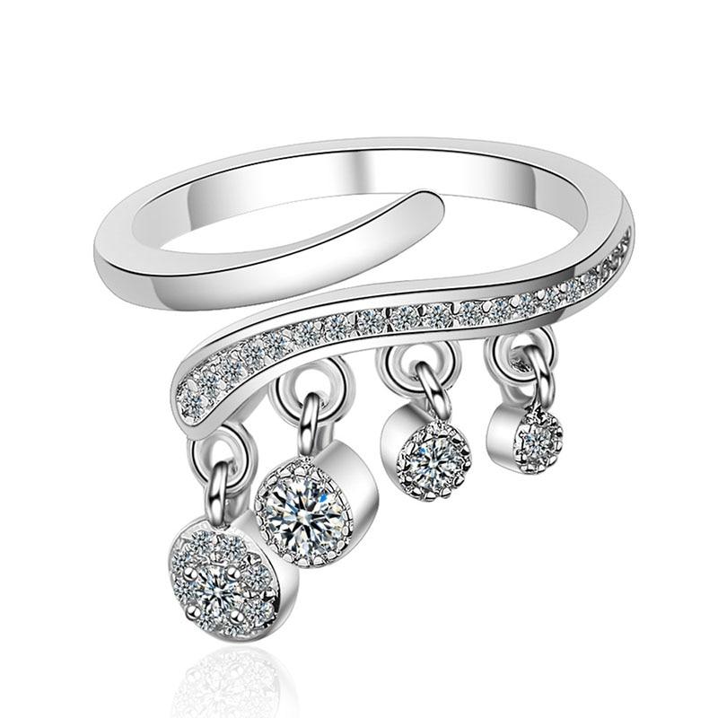 XIYANIKE 925 Sterling Silver Luxurious Crystal Tassel Pendant Ring Twist Design Cubic Zirconia Adjustable Fine Finger Jewelry(China)