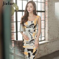Jielur moda drukowane bez rękawów Midi urocze seksowne kobiety sukienki OL Slim pakiet Hip Sukienka lato plac dekolt w stylu Vintage Sukienka 4