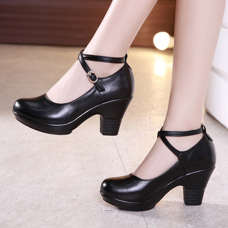 New 2019 Fashion Women Pumps With High Heels For Ladies Work Shoes Dancing Platform Pumps Women Genuine Leather Shoes Mary Janes(China)