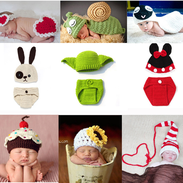 c007664cba92 Newborn Clothes Crochet Baby Boy Girl Knit Costume Photography Props Outfit  Animal Style Baby Beanies Hat SG048