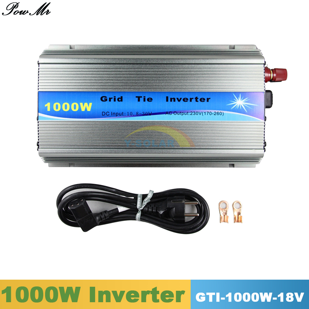 1000W Grid Tie Inverter MPPT Function Pure Sine Wave 110V or 220V Output 10.8V~28VDC Input For 18V 36 Cells Solar Panels PowMr