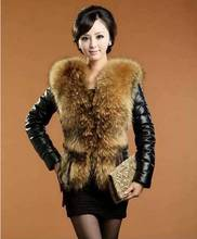 Women  raccoon fur collar leather coat new leather grass short section womans jackets casacos femininos lady winter clothes S758