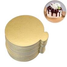 100 шт./компл. круглый мусс торт доски золото бумага кекс десерт отображает лоток свадьба день рождения торт декоративная выпечка комплект