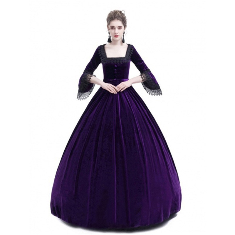 Cosplay Medieval Palace Princess Dress Adults Halloween Costumes For Women 2018 Lace Long Sexy Plus Size Party Helloween Costume