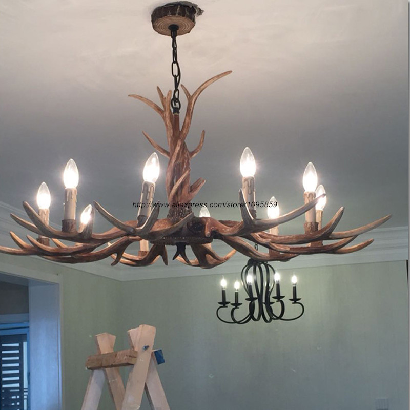 Vintage antlers chandelier light dining room restaurant retro antler vintage antlers chandelier light dining room restaurant retro antler ceiling fixtures lighting in chandeliers from lights lighting on aliexpress aloadofball Choice Image