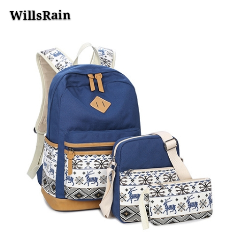 2018 new three piece leisure backpack backpack high school satchel fashion folk style shoulder bag