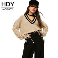 HDY 2017 Oversized Sweaters Autumn Women V Neck Knitted Casual Sweater Lace up Loose Female Brief Tops Pullovers Brown Plus Size