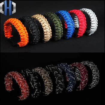 24.5cm Nine Core Reflective Paracord Escape Emergency Glowing Plaited Rope EDC Survival Saving Bracelet with Whistle Tools