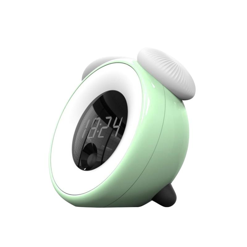 Wake Up Light Digital Sunrise Alarm Clock With Colorful Night Light Nature Sounds Snooze Function Touch Control (Green)