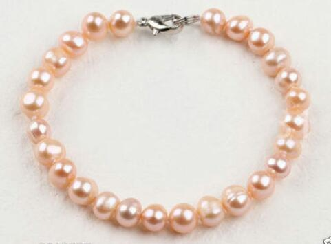 Beautiful Clasp 8 - 9 mm Natural Rose Freshwater Pearl Bracelet 8 Inches 2 PCS>>> women jewerly Free shipping