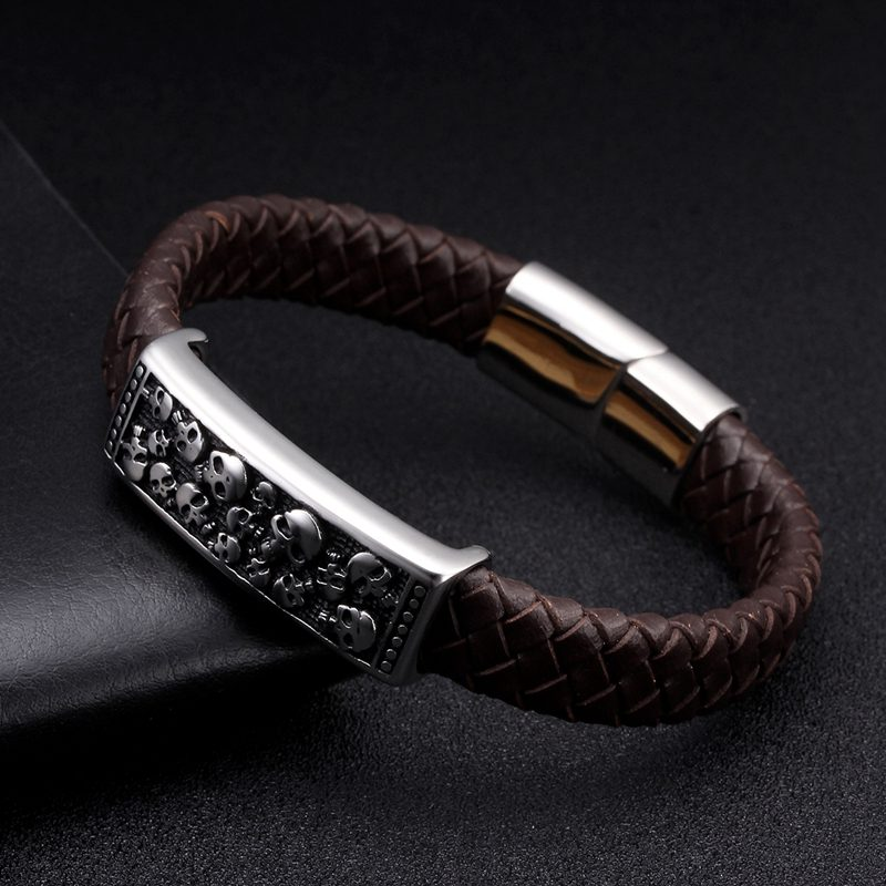 Male Vintage Magnetic Skull Charm Bracelets Pulsera Unique Braided Blue Genuine Leather Men Cuff Bracelets Skeleton Jewelry