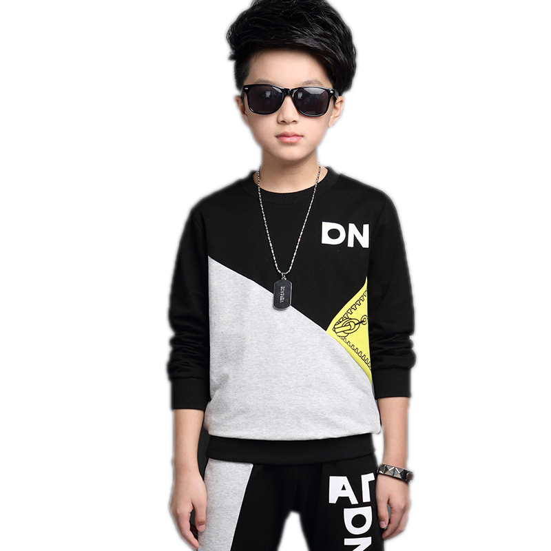 children clothing sets 2017 new autumn kids boys sports suits two piece sets black patchwork kids tracksuits teenager boys sets